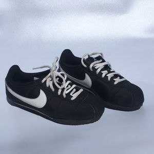Nike Cortez Black with White Swoosh Youth 4Y